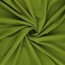 Tissu jersey viscose uni - vert mousse x 10 cm