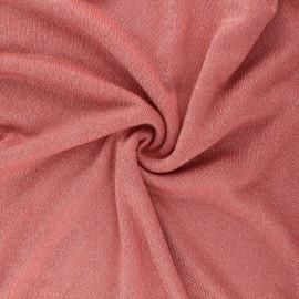 Lurex viscose knit fabric - coral Shiny x 10cm
