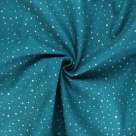 Tissu popeline de coton Poppy Dots C - bleu canard x 10cm