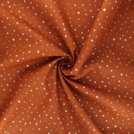 Tissu popeline de coton Poppy Dots C - cannelle x 10cm