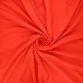 Plain viscose jersey fabric - poppy red x 10 cm