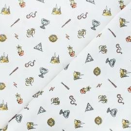 Tissu coton Harry Potter saga - blanc x 10 cm