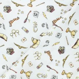 Tissu coton Harry Potter Magic Hogwarts - blanc x 10 cm