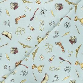 Tissu coton Harry Potter Magic Hogwarts - bleu gris x 10 cm