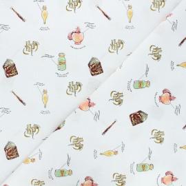 Tissu coton Harry Potter Cours de potion - blanc x 10 cm