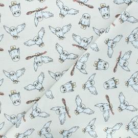 Tissu coton Harry Potter Hedwige with letters - gris x 10 cm