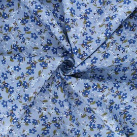 Cotton poplin fabric - light blue Douces fleurs x 10cm