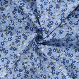 Tissu popeline de coton Douces fleurs - bleu clair x 10cm