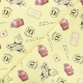 Cotton fabric - yellow Harry Potter En route pour Poudlard x 10cm