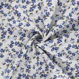 Tissu popeline de coton Douces fleurs - grège x 10cm
