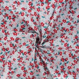 Tissu popeline de coton Douces fleurs - gris clair x 10cm