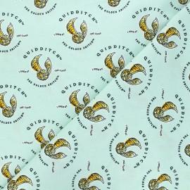 Cotton fabric - aqua green Harry Potter Quidditch et vif d'or x 10cm