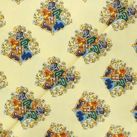 Tissu coton Harry Potter Blason de Poudlard - jaune x 10 cm