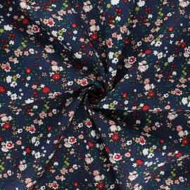 Tissu popeline de coton In the meadows - bleu marine x 10cm
