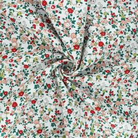 Cotton poplin fabric - white In the meadows x 10cm