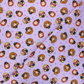 Cotton fabric - purple Harry's girl's gang x 10cm