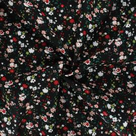 Tissu popeline de coton In the meadows - noir x 10cm