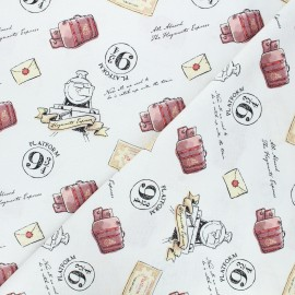 Cotton fabric - white Harry Potter En route pour Poudlard x 10cm
