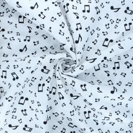 Cotton poplin fabric - white Music life x 10cm