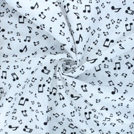 Tissu popeline de coton Music life - blanc x 10cm