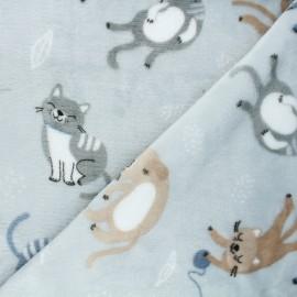 Flannel fleece fabric - grey Cats' playground x 10cm