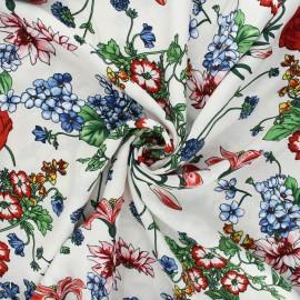 Tissu viscose Fleurs sauvages - écru x 10cm