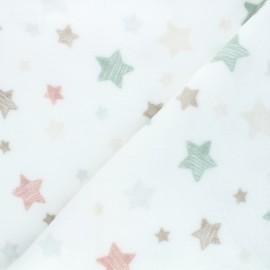 Flannel fleece fabric - white Into the stars x 10cm