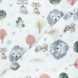 Flannel fleece fabric - white Forest foxy x 10cm