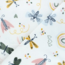 Tissu doudou Butterflies world - blanc x 10 cm