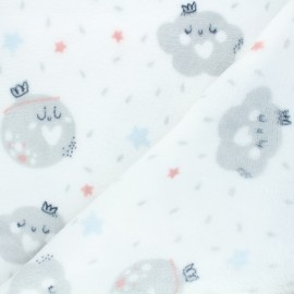 Flannel fleece fabric - white Rainy cloudy x 10cm