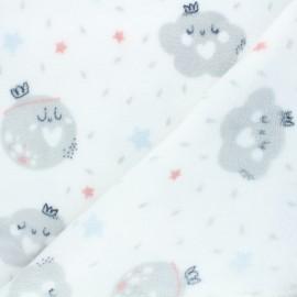 Tissu doudou Rainy cloudy - blanc x 10 cm