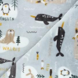 Flannel fleece fabric - grey Arctic life x 10cm