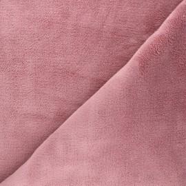 Flannel fleece fabric - old pink Piloudou x 10cm