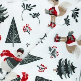 Flannel fleece fabric - white North pole Christmas x 10cm