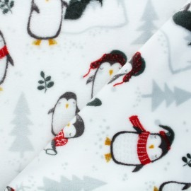 Flannel fleece fabric - white North pole penguin x 10cm