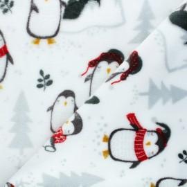 Tissu doudou North pole penguin - blanc x 10 cm