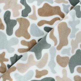 Tissu doudou Winter camo - blanc x 10 cm