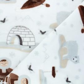 Tissu doudou Esquimaux - blanc x 10 cm
