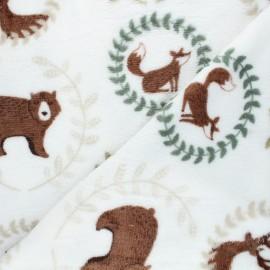 Flannel fleece fabric - white Kudos animals x 10cm