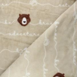 Flannel fleece fabric - beige Brave bear x 10cm