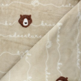 Tissu doudou Brave bear - beige x 10 cm