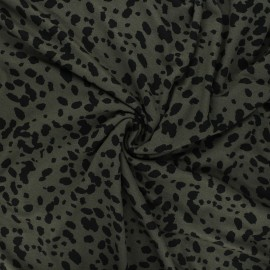Tissu jersey viscose Camo cheetah - kaki x 10 cm