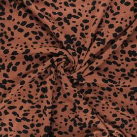 Tissu jersey viscose Camo cheetah - camel x 10 cm