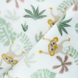 Tissu doudou Jungle monkeys - blanc x 10 cm