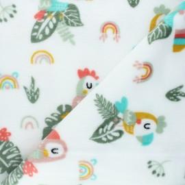 Flannel fleece fabric - white Summy birdy x 10cm