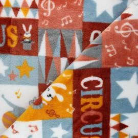 Tissu doudou Circus - rouge x 10 cm