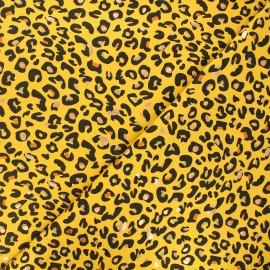 Printed jersey fabric - yellow Precious tiger x 10cm