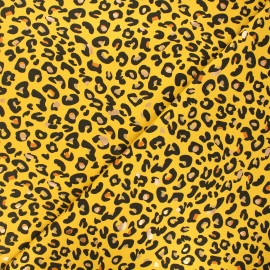 Tissu jersey Precious tiger - jaune x 10cm