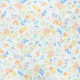 Printed jersey fabric - white Butterfly garden x 10cm