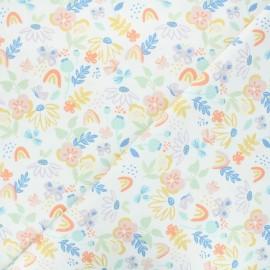 Tissu jersey Butterfly garden - blanc x 10cm